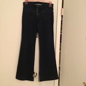 THEORY Button-front Denim Flare Leg Jeans Trousers